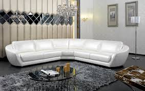 Round Fur Rug by Curved White Leather Sectional Couch With Back And Arms Added By