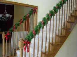 stair rail garland decorating for banisters ideas banister