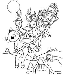 santa and reindeer coloring pages printable eson me