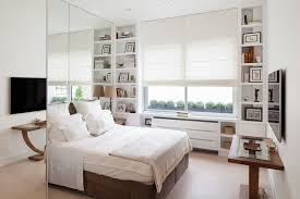 chambre cocoon frameless mirror bedroom contemporary with built in bookcase wall
