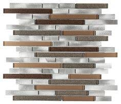 Sample Rustic Copper Linear Natural by Linear Glass Slate Mosaic Tile Blue Bathroom Remodel Pinterest