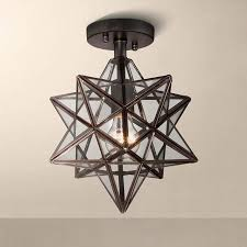 star light fixtures ceiling cuthbert clear glass 11 wide black iron star ceiling light