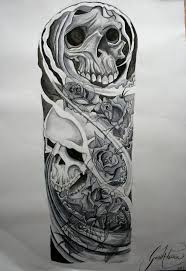 skull and roses sleeve designs skulls and roses