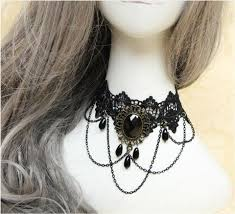 victorian style choker necklace images Gothic choker necklace with black stone pendant gorgeous goth jpg