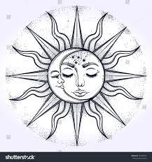 bohemian sun moon vector stock vector 527868034