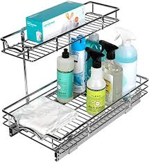 the kitchen sink cabinet organization richards homewares pull out drawer for kitchen vanity sink storage two tier slide organizer 11 wx 21 dx14 1 2 h requires at least 12