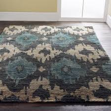 Cream And Grey Rug Charcoal And Teal Ikat Brushed Jute Rug Ikat Pattern Ikat And