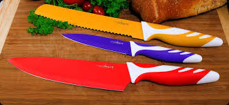 stainless steel kitchen knives set chopmate colored stainless steel anti bacterial non stick coated 8