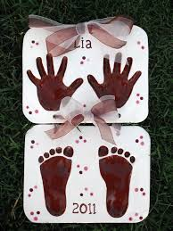 children u0027s hand print and foot print keepsake clay heart