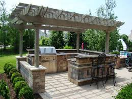 kitchen outdoor kitchens pergola with grey wooden roof and black
