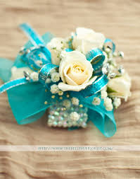 turquoise corsage the elsa a fantastic sparkly corsage white roses with a touch