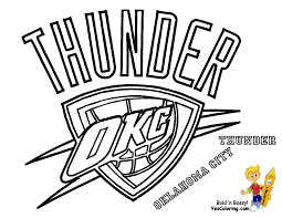 thunder basketball logo oklahoma city thunder coloring to print
