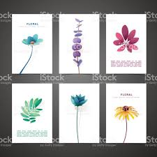 set template design card with flower decor invitation set with
