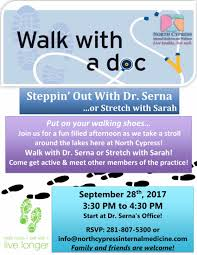walk with a doc thursday 9 28 3 30 pm dorothy c serna md cwp