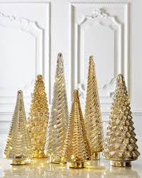 gold silver mercury glass tabletop trees horchow 2016