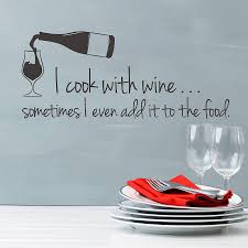 cook with wine wall sticker quote snuggledust studios cook with wine wall sticker quote