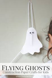 flying construction paper ghosts halloween crafts for kids