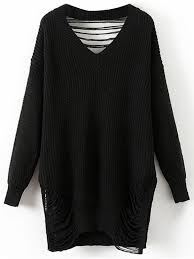 oversized destroyed v neck pullover sweater black sweaters one