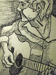 sketch guitar man drawing by kamil swiatek