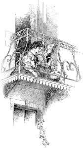 two girls on a balcony clipart etc