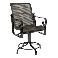 exterior high back outdoor counter bar stool with iron swivel