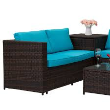 outdoor sofa with storage 4 pc rattan outdoor indoor patio garden pe wicker storage sofa