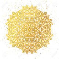 golden foil floral mandala gold tribal ethnic henna ornament
