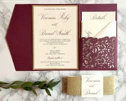 wedding invitations burgundy burgundy and gold laser cut pocket wedding invitation cz invitations