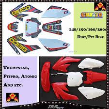 white red stickers plastics for honda crf 70 140 150 160 200 cc