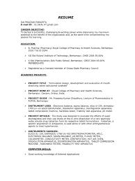 career objectives in resumes b pharm fresher resume