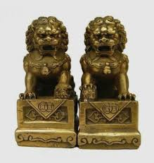 gold lion statues fu dogs imperial guardian lions pair my feng shui store