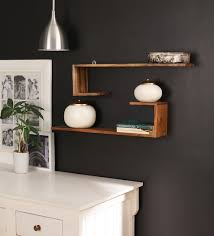 wall shelves pepperfry buy solid wood hand made decorative wall shelf set of 2 in brown