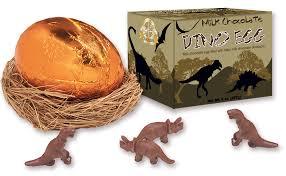 chocolate dinosaur egg with chocolate dinosaurs inside the