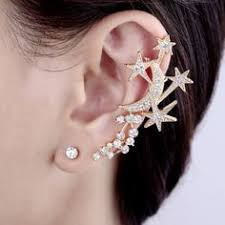 ear clasp indian ethnic peacock design zircons made ear cuff earring