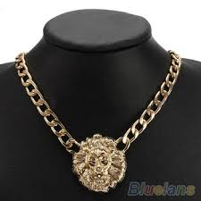 chunky chain pendant necklace images Buy fashion women gold flat chain statement choker chunky lion jpg