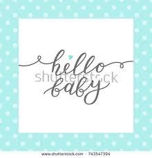 hello baby shower hello baby vector lettering baby shower stock vector 743547394