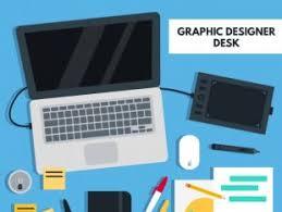 Graphic Designer Desk Office Desk Flat Design Free Vectors Ui Download