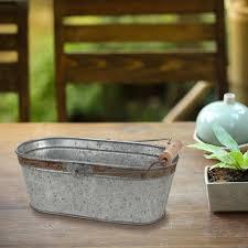 ckk home décor lp stonebriar aged galvanized oval bucket with