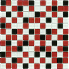 mineral tiles glass mosaic tile backsplash red black 1x1 11 60