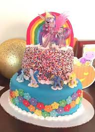 two tier rainbow my little pony cake 6 steps