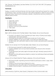 audio engineer resume sample gallery creawizard com