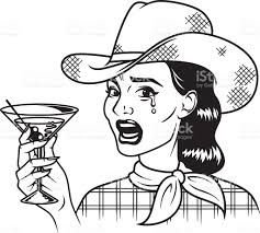retro martini vintage retro crying cowgirl drinking martini line art icon stock