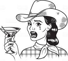 retro martini vintage retro crying cowgirl drinking martini line art icon stock