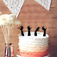 halloween wedding cake topper crazy 4 zombie hands silhouette