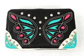 the rustic shop black western butterfly design rhinestone wallet