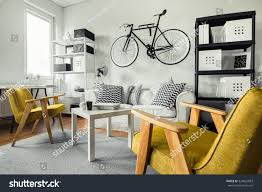 modern space yellow armchairs black white stock photo 324822803