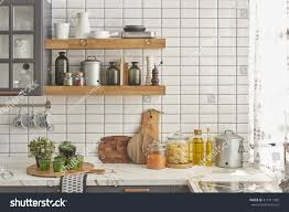 white tiles wall modern kitchen chopping stock photo 411911560