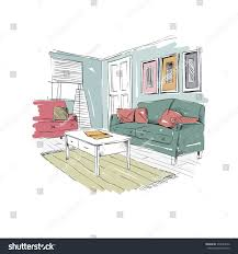 living room design interior sketch hand stock vector 370044932