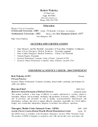 licensed professional counselor resume ems resume