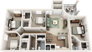 Two Bedroom Apartment Design Ideas Miraculous 4 Bedroom Townhomes 60 With Home Design Ideas With 4